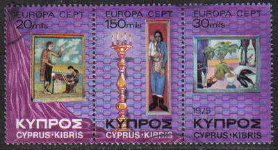 Cyprus Stamps SG 443-45 1975 Europa Paintings - USED (g774)
