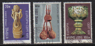 Cyprus Stamps SG 452-54 1976 Europa Ceramics - USED (g777)