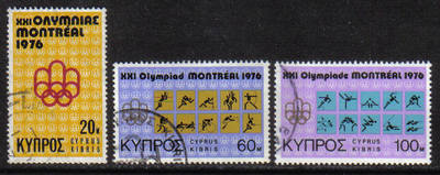 Cyprus Stamps SG 471-73 1976 Montreal Olympic Games - USED (g780)