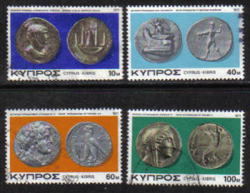 Cyprus Stamps SG 486-89 1977 Ancient Coins - USED (g787)