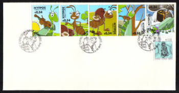 Cyprus Stamps SG 1281-85 2012 Aesops Fables The Cricket and the Ant - Unofficial FDC (g917)