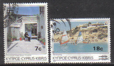 Cyprus Stamps SG 684-85 1986 Surcharge 7c 18c - USED (g857)