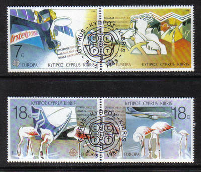 Cyprus Stamps SG 718-21 1988 Europa Transport - CTO USED (g858)