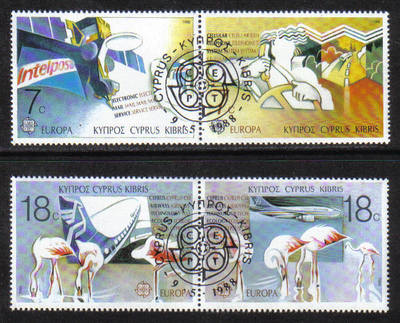 Cyprus Stamps SG 718-21 1988 Europa Transport - CTO USED (g862)