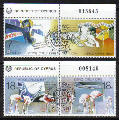 Cyprus Stamps SG 718-21 1988 Europa Transport Control numbers - CTO USED (g