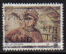 Cyprus Stamps SG 757 1989 7th Definitives Mosaics 2 Cent - USED (g911)