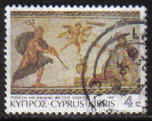 Cyprus Stamps SG 759 1989 7th Definitives Mosaics 4 Cent - USED (g908)