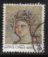 Cyprus Stamps SG 761 1989 7th Definitives Mosaics 7 Cent - USED (g903)