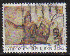 Cyprus Stamps SG 764 1989 7th Definitives Mosaics 18 Cent - USED (g895)