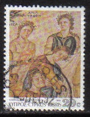 Cyprus Stamps SG 765 1989 7th Definitives Mosaics 20 Cent - USED (g892)