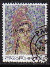 Cyprus Stamps SG 766 1989 7th Definitives Mosaics 25 Cent - USED (g887)