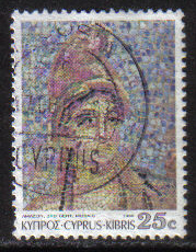 Cyprus Stamps SG 766 1989 7th Definitives Mosaics 25 Cent - USED (g888)
