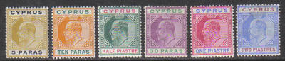 Cyprus Stamps SG 60-65 1904-10 Part set - MH (g923)