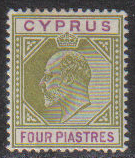 Cyprus Stamps SG 054 1903 Four Piastre - MLH (g921)
