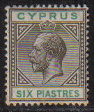 Cyprus Stamps SG 080 1912 Six Piastres King George V - MINT (g924)