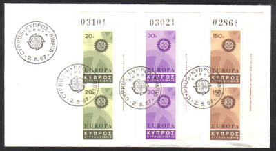 Cyprus Stamps SG 302-04 1967 Europa Cogwheel