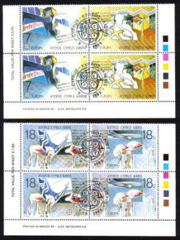 Cyprus Stamps SG 718-21 1988 Europa Transport - Pairs CTO USED (g939)