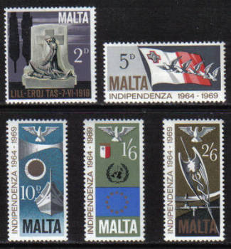 Malta Stamps SG 0422-26 1969 5th Anniversary of Independance - MINT