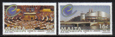 Malta Stamps SG 1100-01 1999 50th Anniversary of the Council of Europe - MI