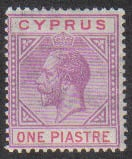 Cyprus Stamps SG 090 1922 One Piastre King George V - MLH (g977)