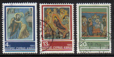 Cyprus Stamps SG 670-72 1985 Christmas Frescoes - USED (g966)