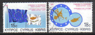 Cyprus Stamps SG 716-17 1988 EEC Customs union - USED (g972)