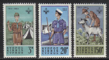 Cyprus Stamps SG 229-31 1963 50th Anniversary of Boy Scouts in Cyprus - MH
