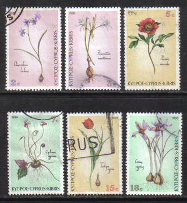 Cyprus Stamps SG 785-90 1990 Wild Flowers - USED (h136)