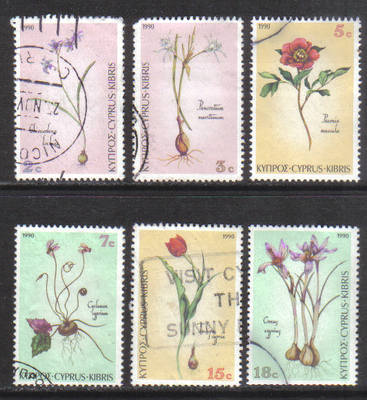 Cyprus Stamps SG 785-90 1990 Wild Flowers - USED (h137)