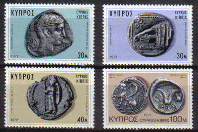 Cyprus Stamps SG 393-96 1972 Ancient Coins 1972 - MLH