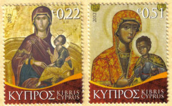 Cyprus Stamps SG 1287-88 2012 Christmas Virgin Mary Icons - MINT