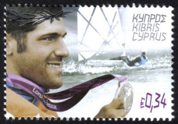 Cyprus Stamps SG 1286 2012 London Olympic Games Cypriot silver medal winner Pavlos Kontides for sailing - MINT