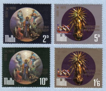 Malta Stamps SG 0452-55 1971 St Joeseph Our lady of Victories - MINT