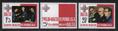 Malta Stamps SG 0536-38 1975 Birth of the Republic of Malta - MINT