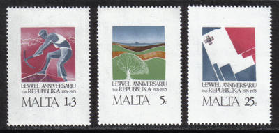 Malta Stamps SG 0552-54 1975 1st Anniversary of the Republic - MINT