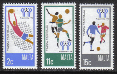 Malta Stamps SG 0601-03 1978 Argentina World Cup football - MINT
