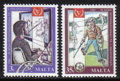 Malta Stamps SG 0663-64 1981 Disabled persons - MINT