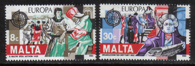 Malta Stamps SG 0692-93 1982 Europa Historical events - MINT