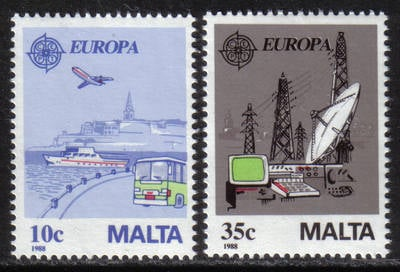 Malta Stamps SG 0827-28 1988 Europa Transport - MINT