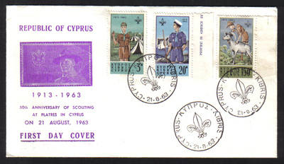 Cyprus Stamps SG 229-31 1963 Boy Scouts conference - Unofficial FDC (h409)