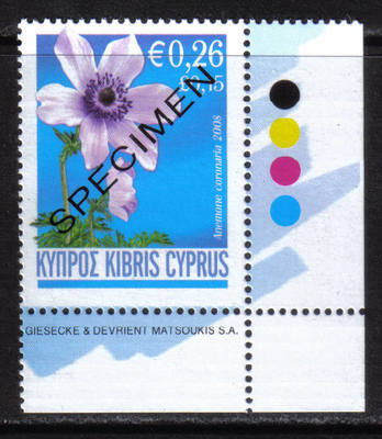 Cyprus Stamps SG 1158 2008 Anemone 26c - Specimen MINT (h404)