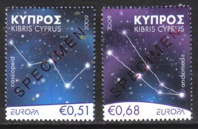 Cyprus Stamps SG 1188-89 2009 Europa Astronomy - Specimen MINT