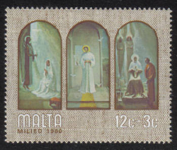Malta Stamps SG 0651 1980 12c Christmas Paintings by A Inglott - MINT
