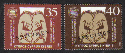 Cyprus Stamps SG 841-42 1993 12th Commonweath Summit - Specimen MINT