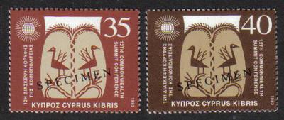 Cyprus Stamps SG 841-42 1993 12th Commonweath Summit - Specimen MINT