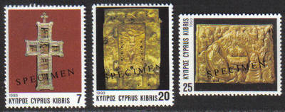 Cyprus Stamps SG 844-46 1993 Christmas Church Crosses - Specimen MINT