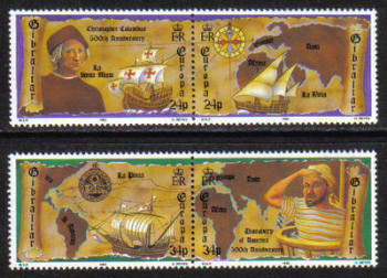 Gibraltar Stamps SG 0669-72 1992 Discovery of America - MINT