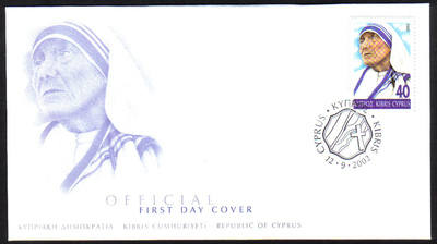 Cyprus Stamps SG 1035 2002 Mother Teresa - Official FDC