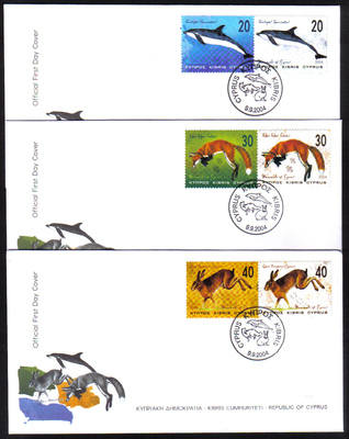 Cyprus Stamps SG 1079-84 2004 Mammals - Official FDC
