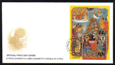 Cyprus Stamps SG 1088 MS 2004 Christmas minisheet - Official FDC